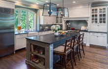 Open kitchen remodel in Minnesota with large center island design.