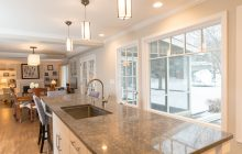 Large windows let light in and views out in a kitchen remodel in Minnesota.